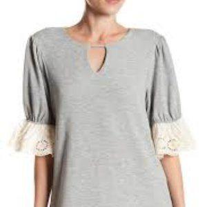Pleione Grey Eyelet Trim Sweatshirt Small